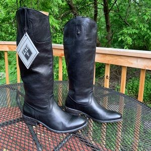 Frye extended calf rustic black 7.5B cowgirl boots